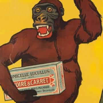 Affiche vintage Rivoire et Carret : le singe